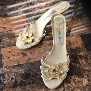 Jimmy Choo Gold Leather Strappy Sandals Size 40 ..